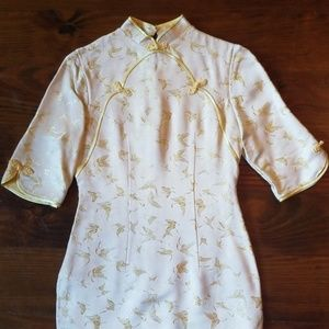 Cream/Gold Traditional Chinese Qipao Dress